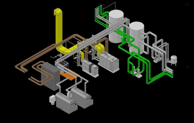 Entwurf Hackschnitzelanlage mit BHKW-